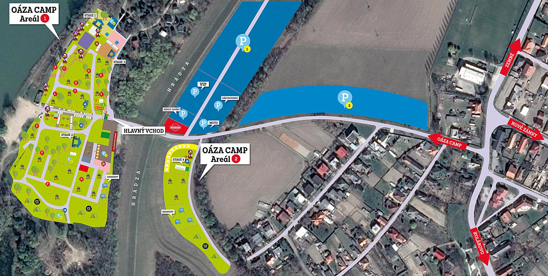 Mapa areálu a parkovanie - Gastrofest